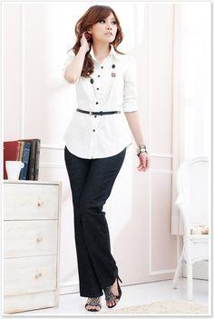 Korean Office Lady blouse Office Fashion Clothing Korean ...