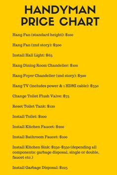 handyman price chart
