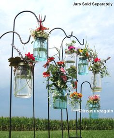 mason jars and flowers