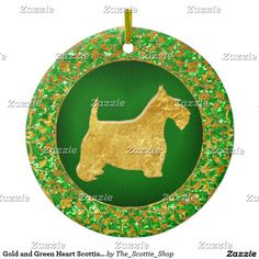 Gold and Green Heart Scottish Terrier Ceramic Ornament