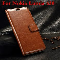 Leather Wallet Cover Case For Nokia Lumia 630 635 Phone Back Shell with Stand Flip Book Style with Card For Nokia Lumia 630 635