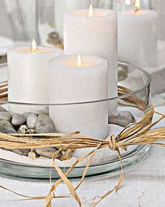 glass candle sand designer centerpieces | Simple Summer Centerpiece - candles, pebbles, & sand in a glass bowl ...