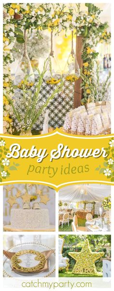 Don't miss this pretty Twinkle Twinkle Little Star Baby Shower! The table settings are gorgeous!! See more party ideas and share yours at CatchMyParty.com #catchmyparty #twinkletwinklelittlestar #babyshower #partyplanning