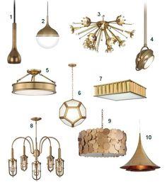Brass Pendant Lights, Chandeliers, Flushmount Lighting #LampsPlus #brass