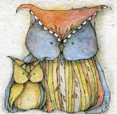 Us Owl series Watercolor and pencil on handmade paper #thedaydreamerie