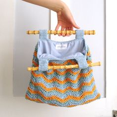 RESERVED Stripe Chevron Crochet Bag with Bamboo Handles