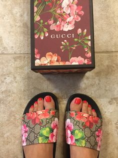 Gucci slides, pink bloom, shoes