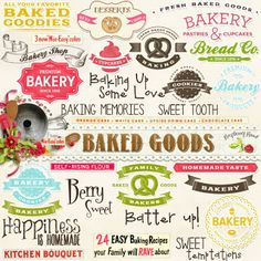 A set of baking themed word arts designed to coordinate with the Baked Goods collection.