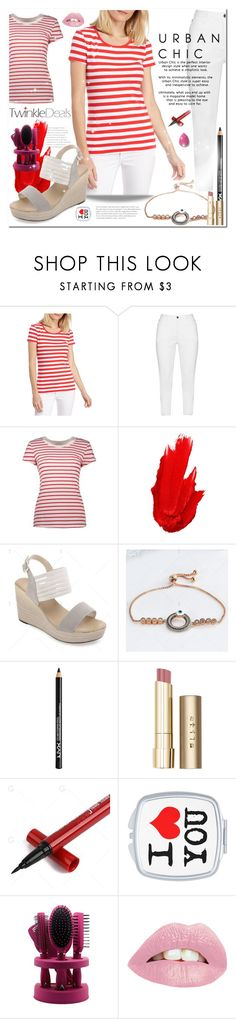 """Short Sleeve Stripe Tee Red"" by bellamonica ❤ liked on Polyvore featuring New Directions, Zhenzi, Maybelline, NYX and Stila"