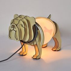 A Fantastic Table Lamp   Intricate Wooden Profiles In The Shape Of A  Bulldog. The