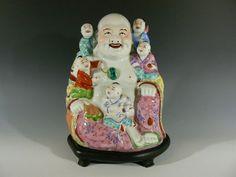 "Antique Chinese Porcelain Reclining Buddha Children 8"""