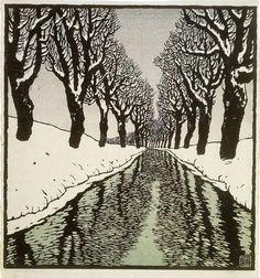 ✨  Carl Theodor Thiemann, Austrian-German (1881-1966)  -  Bach im Winter, 1912. Farb-Holzschnitt ::: Brook in Winter, Colour Woodcut
