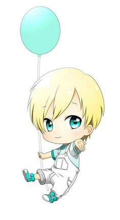 Chibi kawaii Blonde Boy With a Blue Balloon
