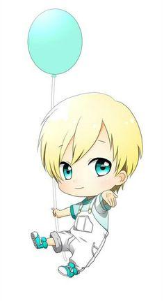 Chibi kawaii Blonde Boy With a Blue Balloon                                                                                                                                                                                 Mais