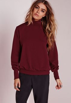 Missguided - High Neck Scuba Sweater Burgundy