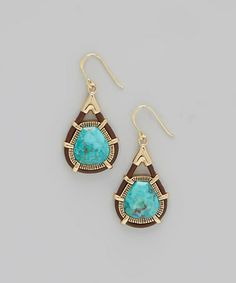 Another great find on #zulily! Turquoise & Leather Teardrop Earrings #zulilyfinds