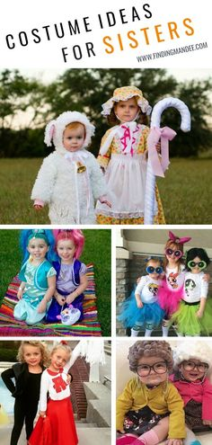 Love themed or coordinating sibling Halloween costumes? Here's some ideas for coordinating Halloween costumes for sisters! Halloween Costumes For Sisters, Little Girl Costumes, Mom Costumes, Halloween Outfits, Costumes For Siblings, Halloween Makeup, Cute Toddler Halloween Costumes, Diy Girls Costumes, Kid Halloween