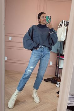 An everyday fall look for me - navy pullover is under $100 (wearing size small), Levi denim jeans are under $100 (wearing size 26), and my lace up combat boots! Hello Fashion Blog, Denim Jeans, Mom Jeans, Lace Up Combat Boots, Fall Looks, Fall Outfits, Pullover, Casual, How To Wear