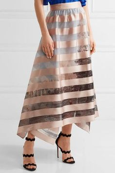 Fendi - Asymmetric Striped Satin And Printed Organza Midi Skirt - Pastel pink - IT