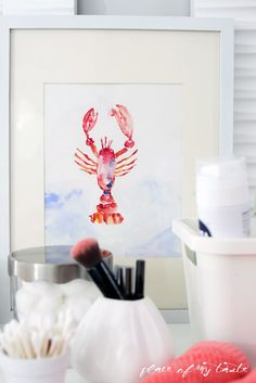 Free printable lobster watercolor art print