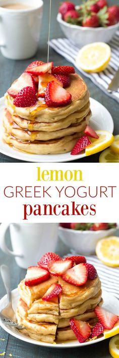 Light and fluffy Lemon Greek Yogurt Pancakes! This healthy pancake recipe is super easy to make! Whole wheat, no butter or oil, and perfect for a weekend breakfast!