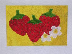 Strawberries    Quilted and Appliqued Fabric Postcard. $6.00, via Etsy.