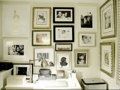 Gallery wall - great example of mixing different styles of silver & gold frames
