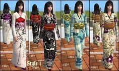 Mod The Sims - A set of 4 Kimono in 2 style for AF/YAF (Mesh by Chriko)