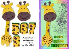 giraffe birthday 5 to 8 on Craftsuprint - Add To Basket! Birthday Clipart, Birthday Cards, Happy Birthday, Birthday Parties, Giraffe Birthday, Card Ideas, Card Making, Greeting Cards, Basket