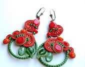 """Soutache earrings """"Very berry"""" red and orange colours crystals and coral beads green glass and soutache braid"""