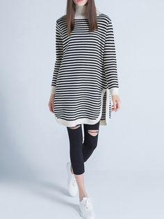 #AdoreWe #StyleWe Sweaters - Sikya Beige Long Sleeve Turtleneck Stripes Sweater - AdoreWe.net
