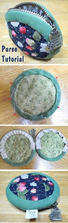 Round Purse Tutorial This is a very basic zippered pouch. ~ How to sew free tutorial for beginners. Ideas for sewing projects. Step by step illustration. Bag Patterns To Sew, Sewing Patterns Free, Free Pattern, Pattern Sewing, Free Sewing, Dress Patterns, Sewing Projects For Beginners, Sewing Tutorials, Sewing Hacks