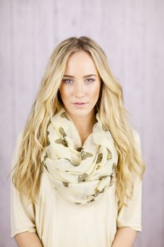 Bow Infinity Scarf Taupe Printed Infinity Loop Bow Scarf with Brown Bows  Infinity Scarf Spring Fashion Accessories Print Circle Scarf. $36.99, via Etsy.