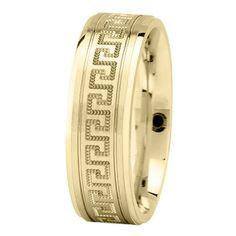 Greek Key Mens Wedding Ring in Yellow Gold 7mm