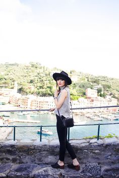 New Darlings in Portofino, Italy - Travel Style - Black Fedora and wedges - J.Crew cross body bag - Madewell sweater tank