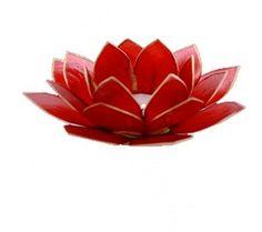 Porta candela fiore di loto rosso. Realizzato con conchiglie Capiz, Il rosso simboleggia l'ispirazione (BL01100). Compra porta candele.