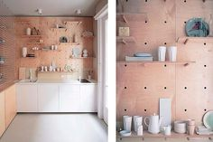 A nicer looking way to do pegboard is to make your own with plywood