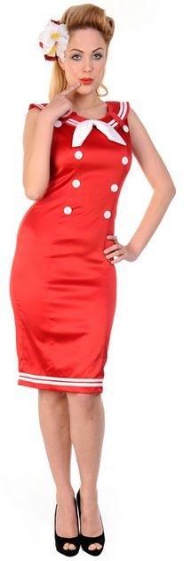 db580bd848 Banned Apparel Red Nautical Pencil Dress - Suicide Glam Australia