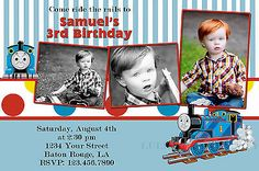Photo Thomas The Tank Engine Thomas Train Birthday Invitation Digital File 4x6 | eBay