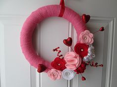 Valentine Wreath, Burlap Wreath, Pink, Red, and White Burlap and Felt Flower Wreath, Door Wreath, Valentines Day Decoration