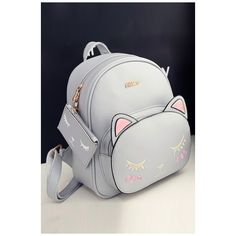 Lovely Cartoon Cat Printed New Fashion School Bags Backpack ($37) ❤ liked on Polyvore featuring bags, backpacks, rucksack bags, cat print bag, cartoon backpack, cartoon bag and comic book