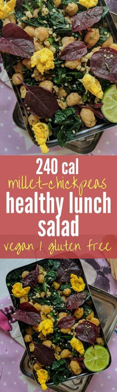 240 calorie healthy lunch salad that is incredibly filling - Vegan and Gluten free too! - 240 calorie healthy lunch salad that is incredibly filling - Vegan and Gluten free too! Vegetarian Salad Recipes, Veggie Recipes, Lunch Recipes, Indian Food Recipes, Beans Recipes, Vegetarian Protein, Healthy Lunches For Work, Healthy Snacks, Healthy Recipes