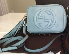 Gucci Soho Disco Leather Light Blue Cross Body Bag. Get the trendiest Cross Body Bag of the season! The Gucci Soho Disco Leather Light Blue Cross Body Bag is a top 10 member favorite on Tradesy. Save on yours before they are sold out!