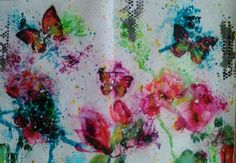 Art Journal page with Colour Blast and napkins.  Love playing with Colour Blast products.  By Wendy Patterson.
