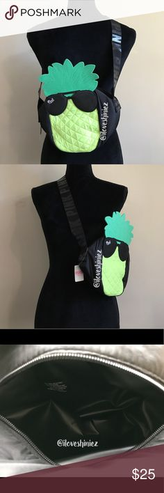 """•Victoria's Secret PINK• Mini Pineapple Cooler •Victoria's Secret PINK•  Mini pineapple cooler. Zipper closure with shoulder strap with printed logos Material: Synthetic Measurements: 6"""" L x 6"""" W x 8.5"""" H Neon yellow color with white logo on front and black printed logos on strap. Green leaves detail New with tags MSRP $29.95  ✨Please read before commenting✨  ❌No Trades ❌No Holds ❌Prices are Firm but I will evaluate offers up to a 10% off a listed price. Consider every other offer Declined…"""
