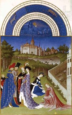 Photograph:Calendar illustration for April from the Tres Riches Heures du duc de Berry, a manuscript book illuminated by the Limbourg brothers in 1416.