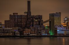 The Domino Sugar Factory in Darkness.