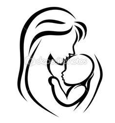 Mamma och baby symbol, hand dras siluett — Stockillustration #9832528