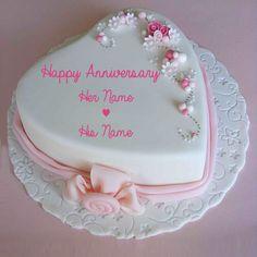 Write Name on Marriage Anniversary Heart Love Cake.Beautiful Anniversary Cake With Custom Text.Name Anniversary Cake Maker.MyNamePix Engagement Anniversary Cake