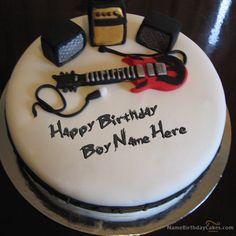 Write Name On Music Birthday Cake For Boys
